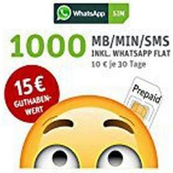 WhatsApp SIM Prepaid [SIM, Micro/SIM, Nano/SIM] / Starterpaket mit 15 EUR Guthabenwert; Option mit 1000 Einheiten für MB/MIN/SMS im 1. Monat inklusive, ohne Vertragsbindung, Surf/Geschwindigkeit: 21,6 MBit/s